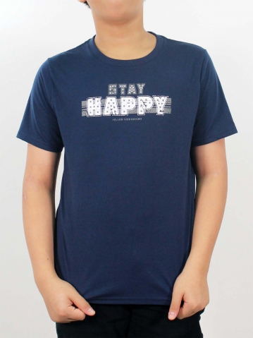 BOYS STAY HAPPY GRAPHIC TEE IN DARK NAVY