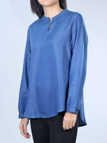 NEOL MANDARIN COLLAR 3/4 SLEEVE BLOUSE IN DARK BLUE